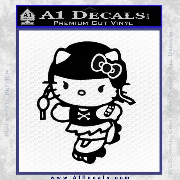 Hello Kitty Roller Derby Decal Sticker Black Vinyl Black