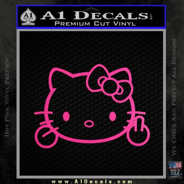 Hello Kitty The Finger D2 Flippy Decal Sticker Neon Pink Vinyl Black