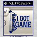 I Got Game Compound Bow Archery Deer Decal Sticker Blue Vinyl 120x120