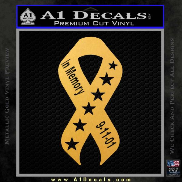 In Memory Of 9 11 Ribbon Decal Sticker Gold Vinyl