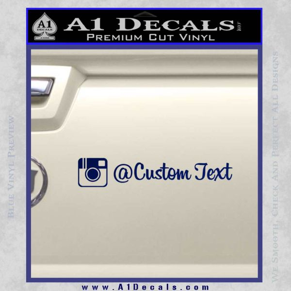 Instagram Custom Text Decal Sticker Blue Vinyl