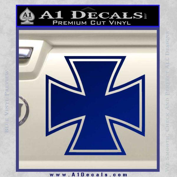 Iron Cross 1 Decal Sticker Blue Vinyl