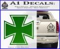 Iron Cross 1 Decal Sticker Green Vinyl Logo 120x97