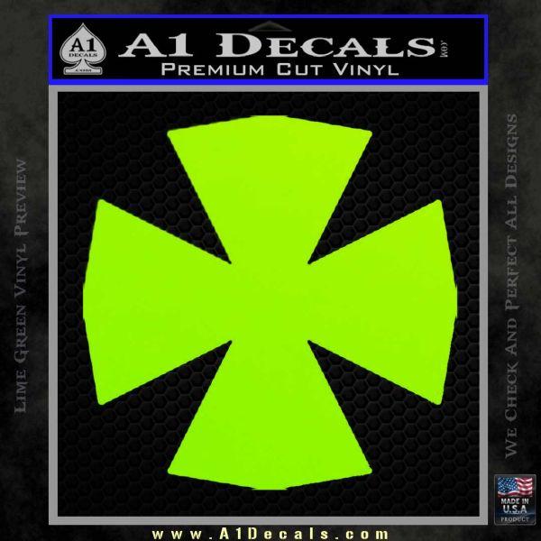 Iron Cross Decal Celtic Sticker D10 Lime Green Vinyl