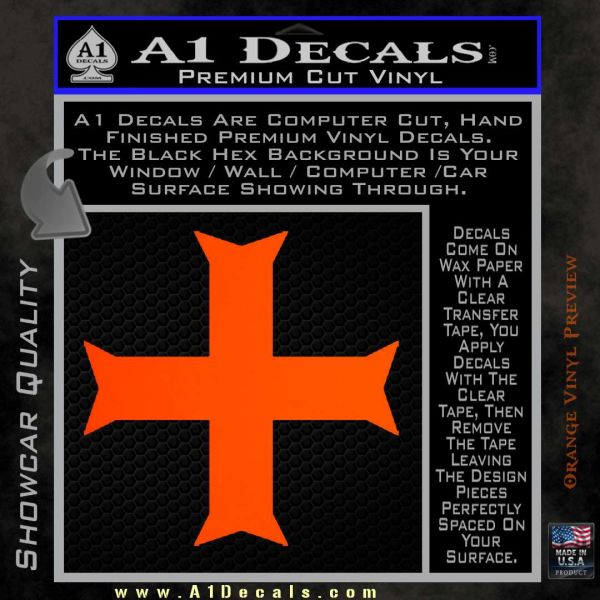 Iron Cross Decal Celtic Sticker D11 Orange Emblem