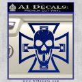 Iron Cross Motor Head Skull Decal Sticker Blue Vinyl 120x120