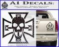 Iron Cross Motor Head Skull Decal Sticker Carbon FIber Black Vinyl 120x97