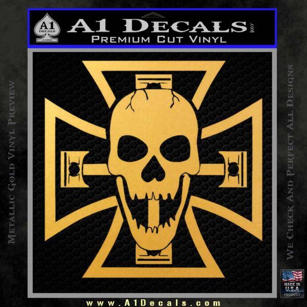 Iron Cross Motor Head Skull Decal Sticker Gold Vinyl