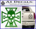 Iron Cross Motor Head Skull Decal Sticker Green Vinyl Logo 120x97