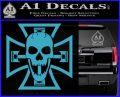 Iron Cross Motor Head Skull Decal Sticker Light Blue Vinyl 120x97