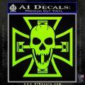 Iron Cross Motor Head Skull Decal Sticker Lime Green Vinyl 120x120