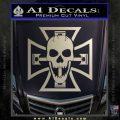Iron Cross Motor Head Skull Decal Sticker Metallic Silver Emblem 120x120