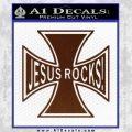 Jesus Rocks Iron Cross Decal Sticker BROWN Vinyl 120x120