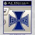 Jesus Rocks Iron Cross Decal Sticker Blue Vinyl 120x120