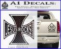 Jesus Rocks Iron Cross Decal Sticker Carbon FIber Black Vinyl 120x97