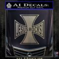 Jesus Rocks Iron Cross Decal Sticker Carbon FIber Chrome Vinyl 120x120