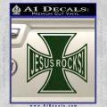 Jesus Rocks Iron Cross Decal Sticker Dark Green Vinyl 120x120