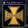 Jesus Rocks Iron Cross Decal Sticker Gold Vinyl 120x120