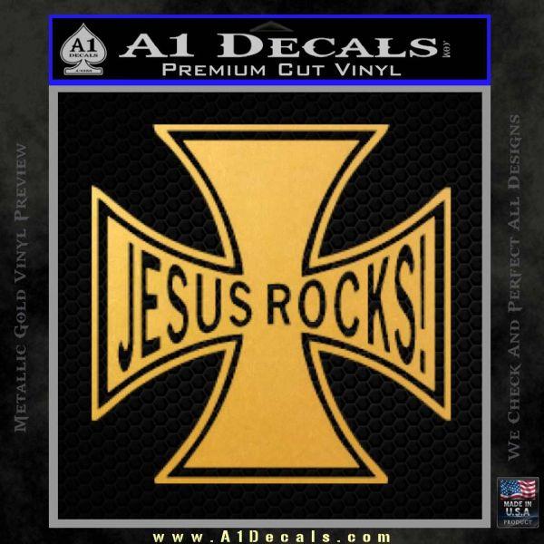 Jesus Rocks Iron Cross Decal Sticker Gold Vinyl