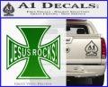 Jesus Rocks Iron Cross Decal Sticker Green Vinyl Logo 120x97