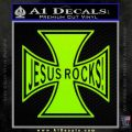 Jesus Rocks Iron Cross Decal Sticker Lime Green Vinyl 120x120