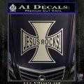 Jesus Rocks Iron Cross Decal Sticker Metallic Silver Emblem 120x120