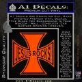 Jesus Rocks Iron Cross Decal Sticker Orange Emblem 120x120