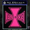 Jesus Rocks Iron Cross Decal Sticker Pink Hot Vinyl 120x120