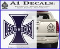 Jesus Rocks Iron Cross Decal Sticker PurpleEmblem Logo 120x97