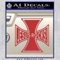 Jesus Rocks Iron Cross Decal Sticker Red 120x120