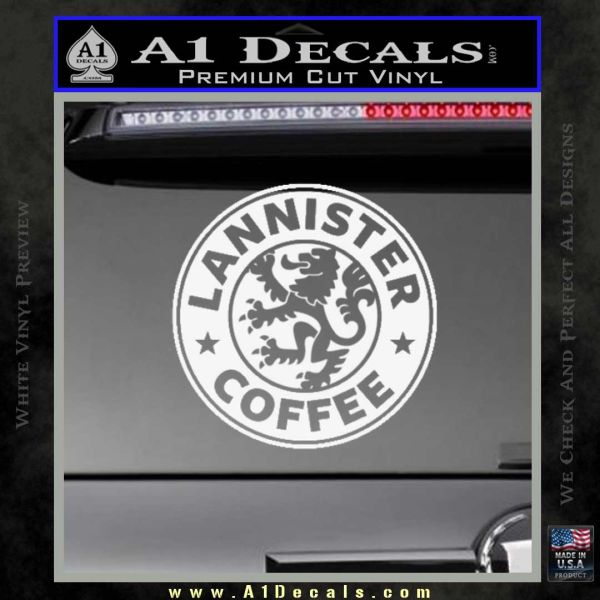 Lanister coffee game of thrones starbucks decal sticker gloss white vinyl 120x120
