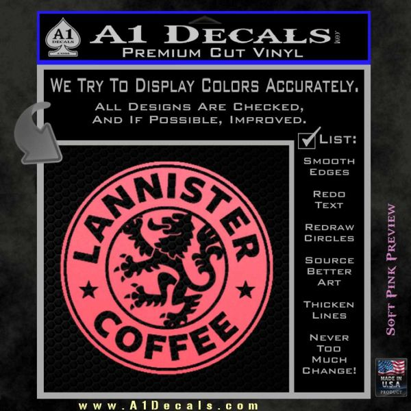 Lanister coffee game of thrones starbucks decal sticker pink emblem 120x120