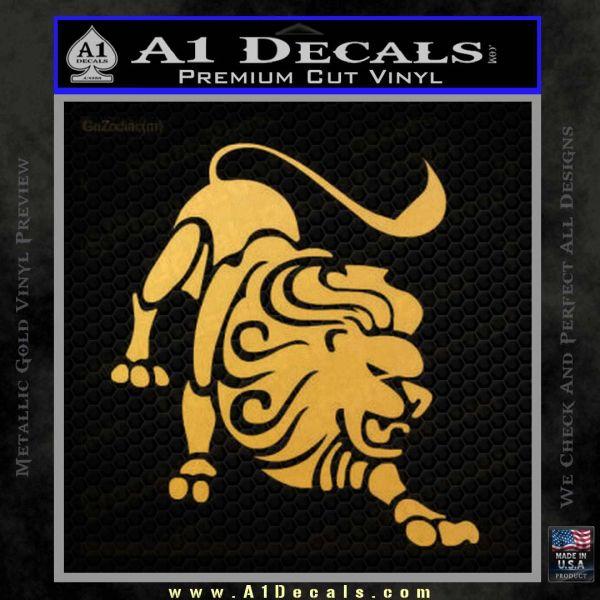 Leo Zodiac Decal Sticker Intricate Gold Vinyl