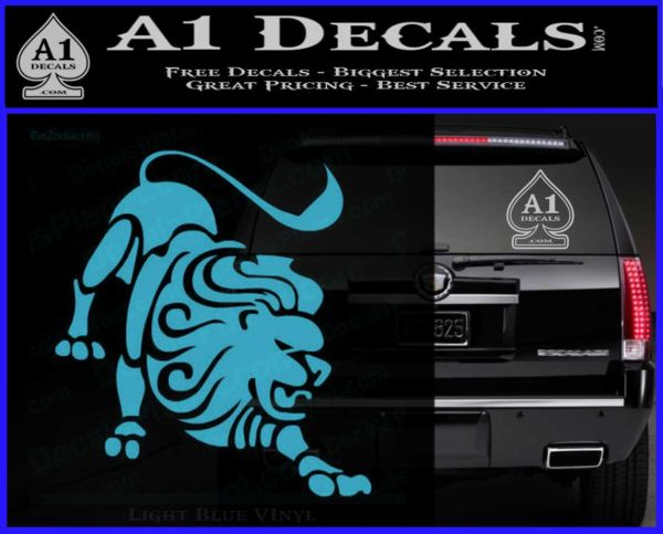 Leo zodiac decal sticker intricate light blue vinyl 120x97
