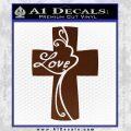 Love Cross Crucifix Decal Sticker BROWN Vinyl 120x120