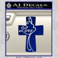 Love Cross Crucifix Decal Sticker Blue Vinyl 120x120