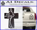 Love Cross Crucifix Decal Sticker Carbon FIber Black Vinyl 120x97
