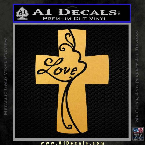 Love Cross Crucifix Decal Sticker Gold Vinyl