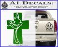 Love Cross Crucifix Decal Sticker Green Vinyl Logo 120x97
