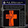 Love Cross Crucifix Decal Sticker Orange Emblem 120x120