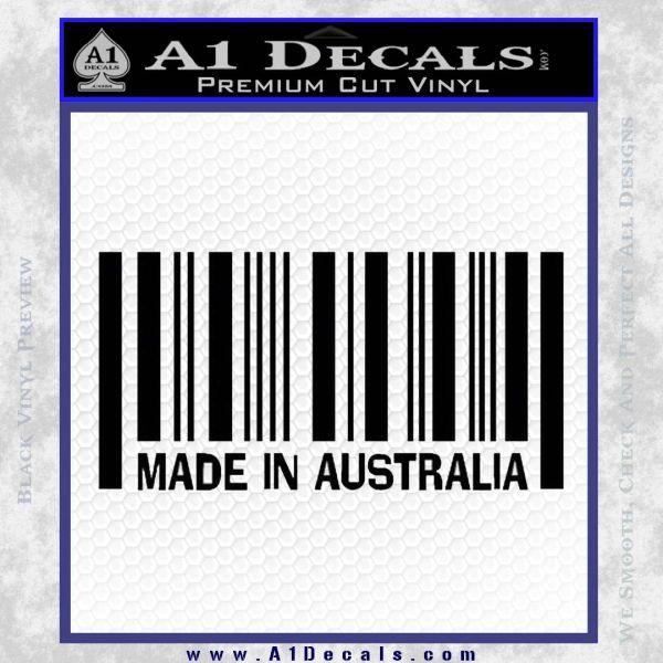 Made In Australia Decal Sticker Black Vinyl
