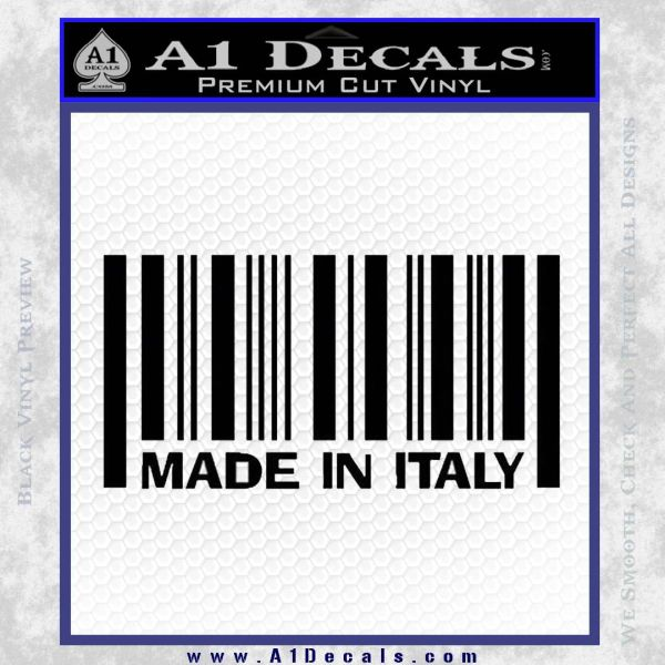 Made In Italy Decal Sticker Black Vinyl