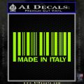 Made In Italy Decal Sticker Lime Green Vinyl 120x120