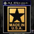 Made USA Decal Sticker Gold Vinyl 120x120
