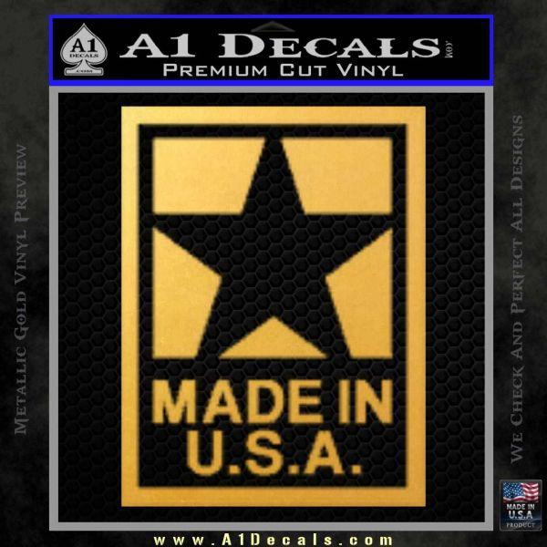 Made USA Decal Sticker Gold Vinyl