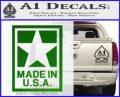 Made USA Decal Sticker Green Vinyl Logo 120x97