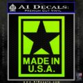 Made USA Decal Sticker Lime Green Vinyl 120x120