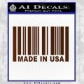 Made in USA Barcode Decal Sticker BROWN Vinyl 120x120