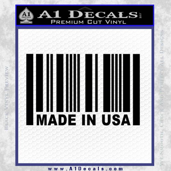 Made in USA Barcode Decal Sticker Black Vinyl