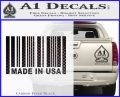 Made in USA Barcode Decal Sticker Carbon FIber Black Vinyl 120x97